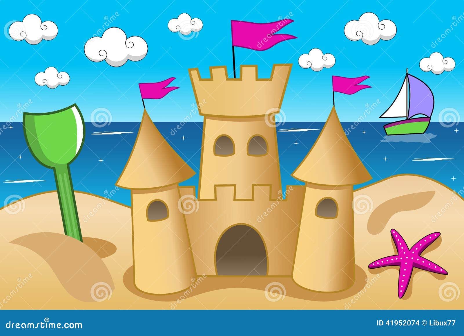 Sand Castle Sea Beach Summer Fun Stock Vector ...