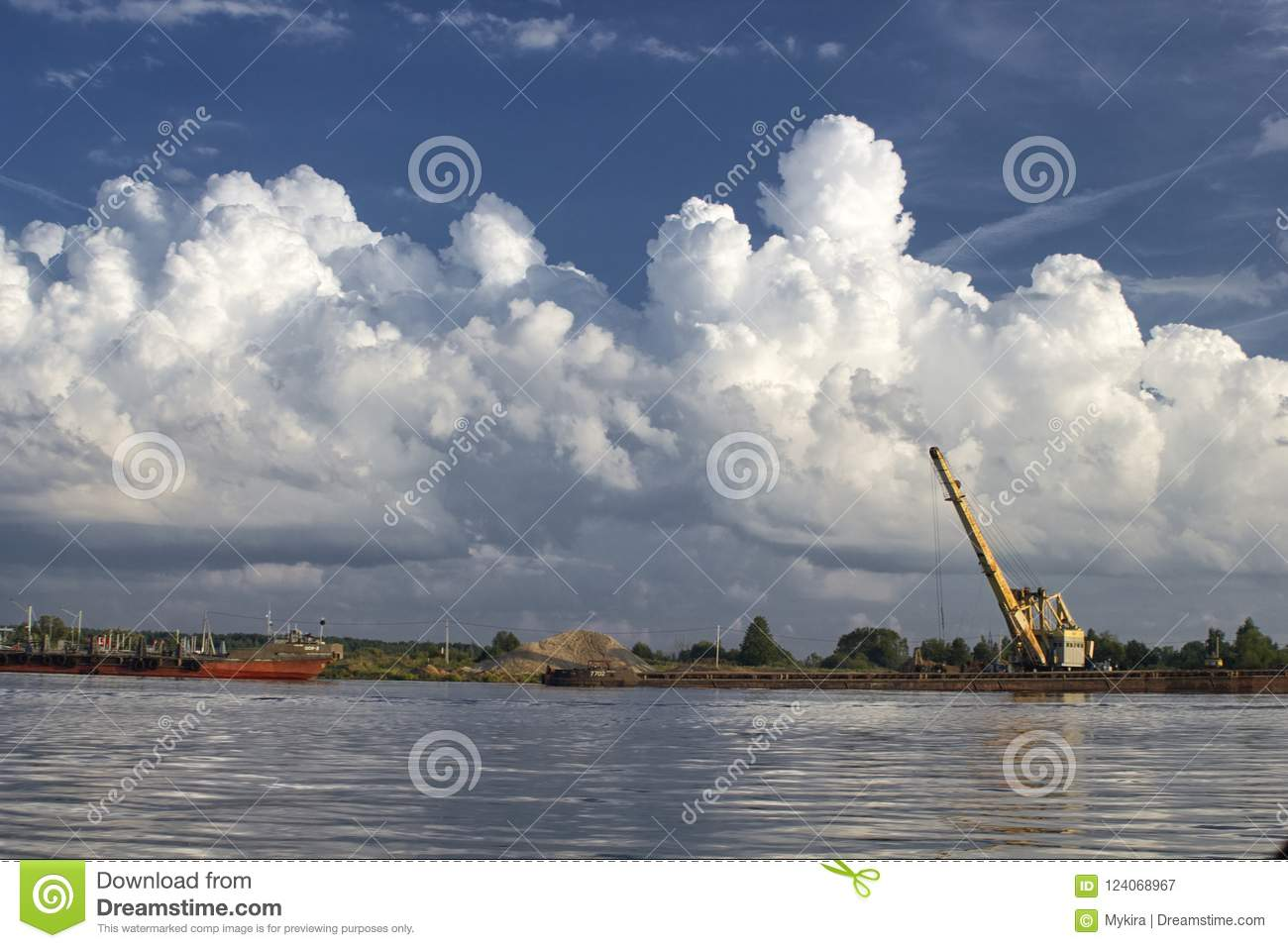 Download Sand Charging On Volga, Russia With Crane And Boat Stock Image - Image of hoist, constraction: 124068967
