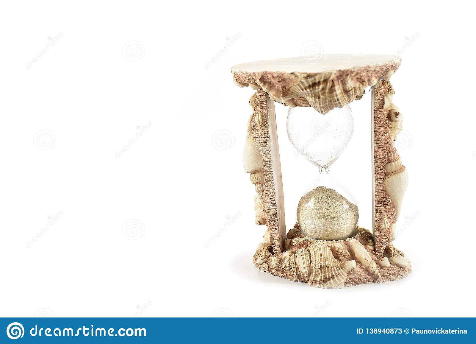 Sand Clock, Shells Send Clock, isolated on white background