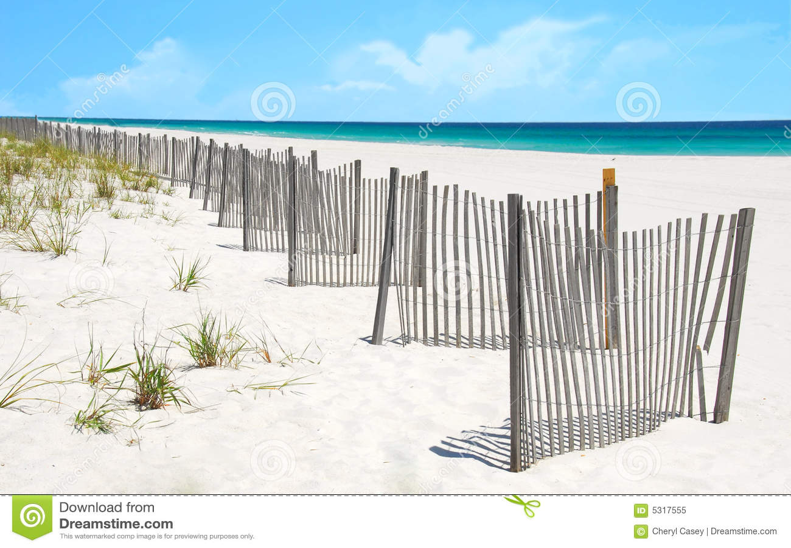 Sand Dune Fence On Pretty Beach Royalty Free Stock Photo