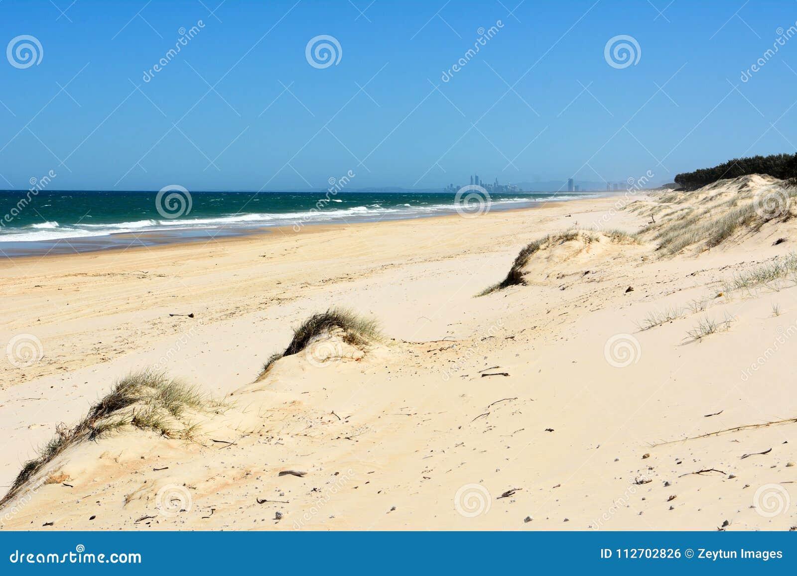 Sand Dunes And Surf Beach On South Stradbroke Island In