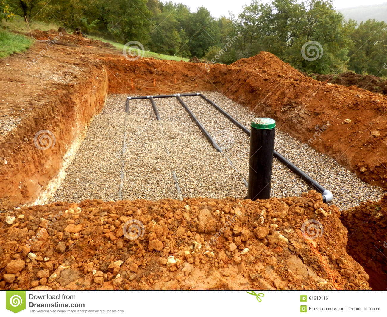 sand gravel drainage system bottom layer pipework laid construction 61613116