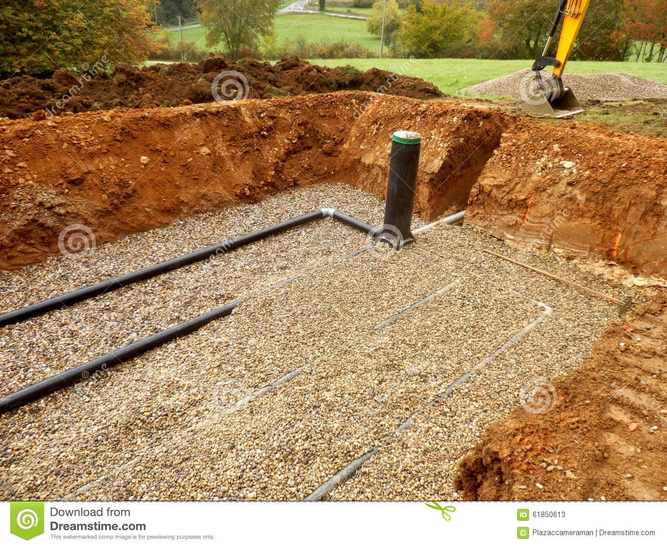 Sand And Gravel : Sand and gravel filter bed stock photo image