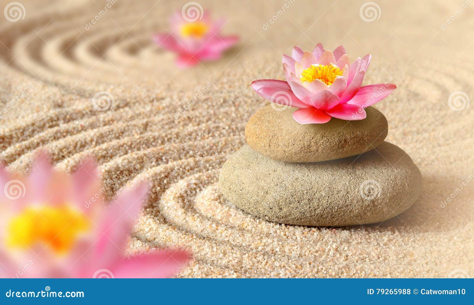 Sand-, lilja- och brunnsortstenar i zen arbeta i trädgården