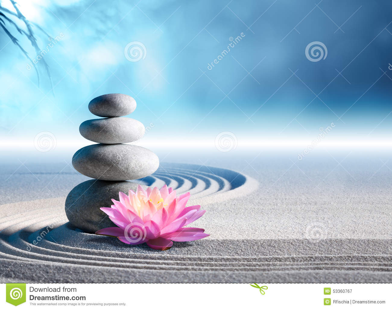 Sand, lily and spa stones