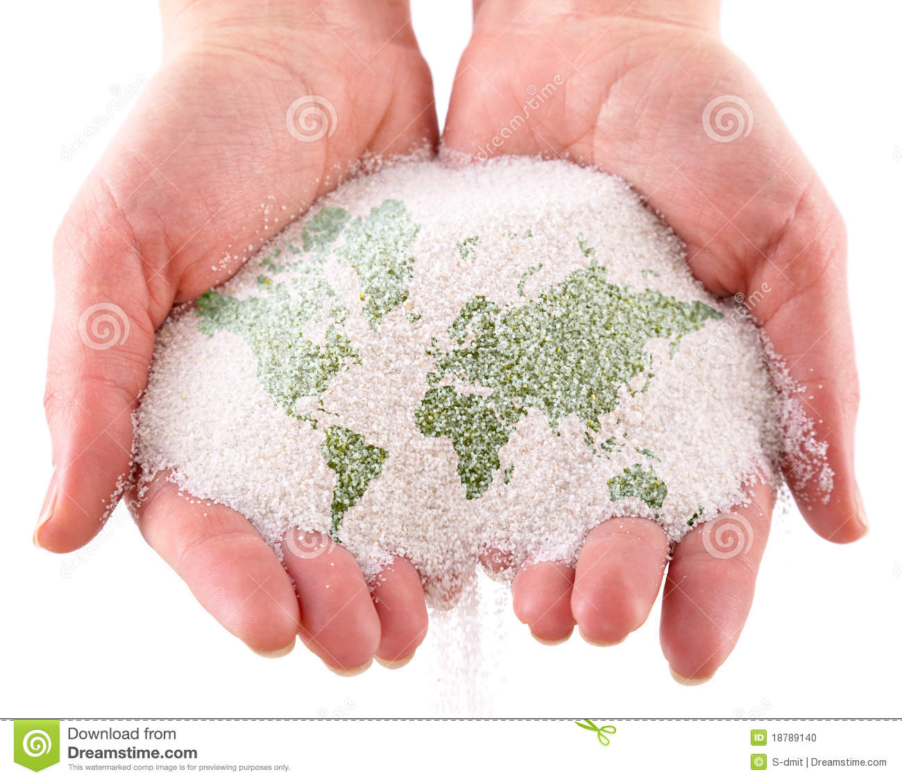 World Map On Hands.Sand With Map Of The World In The Hands Stock Photo Image Of