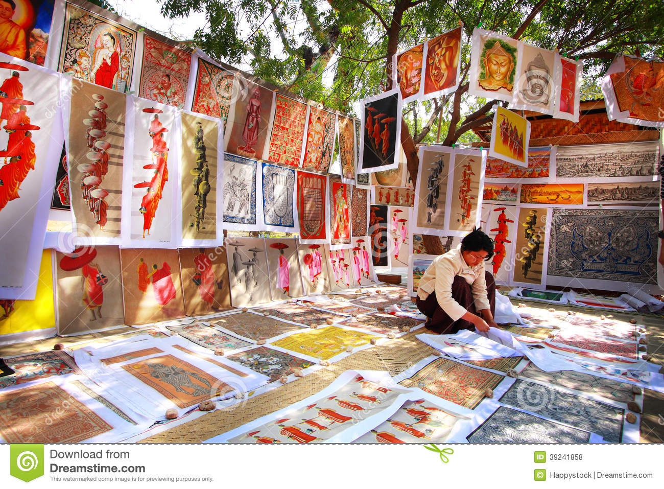sand paintings sale in bagan editorial stock photo