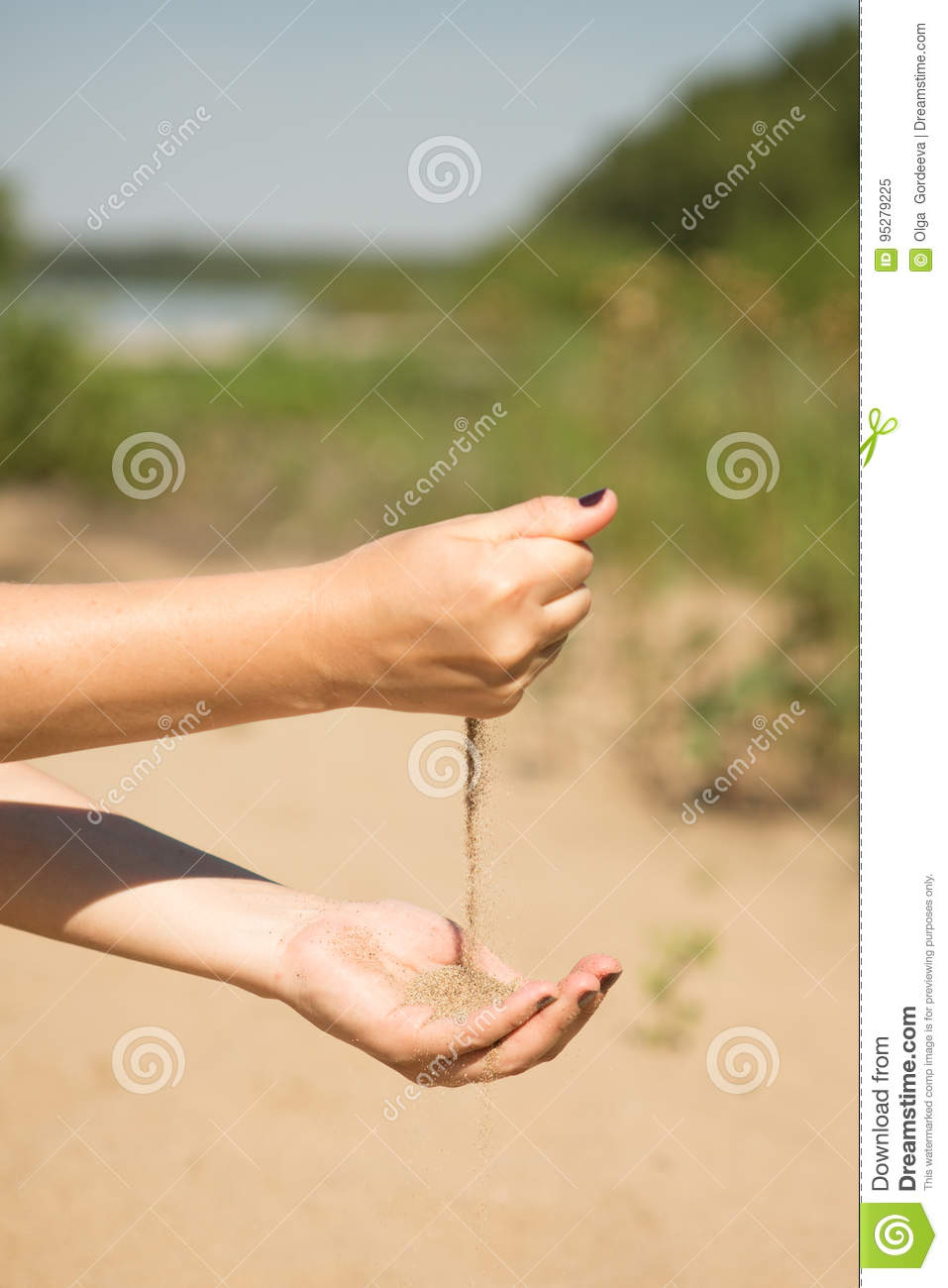 c2b56e9a4 Sand Running Through Hands Of Woman Stock Image - Image of fade ...