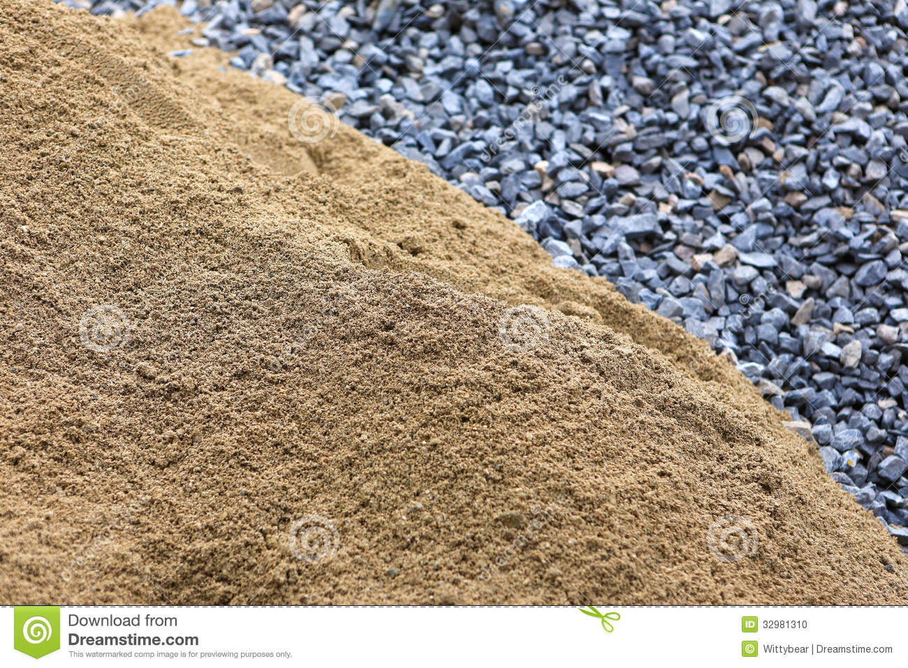 Building Sand Stone : Sand and stone for construction work stock photo image