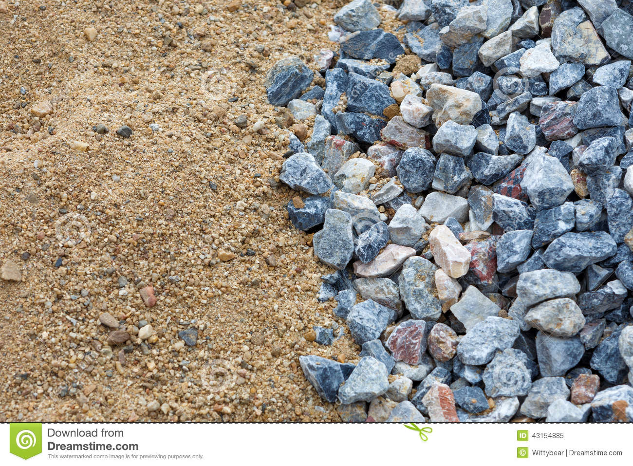 Building Sand Stone : Sand and stone for construction work stock image