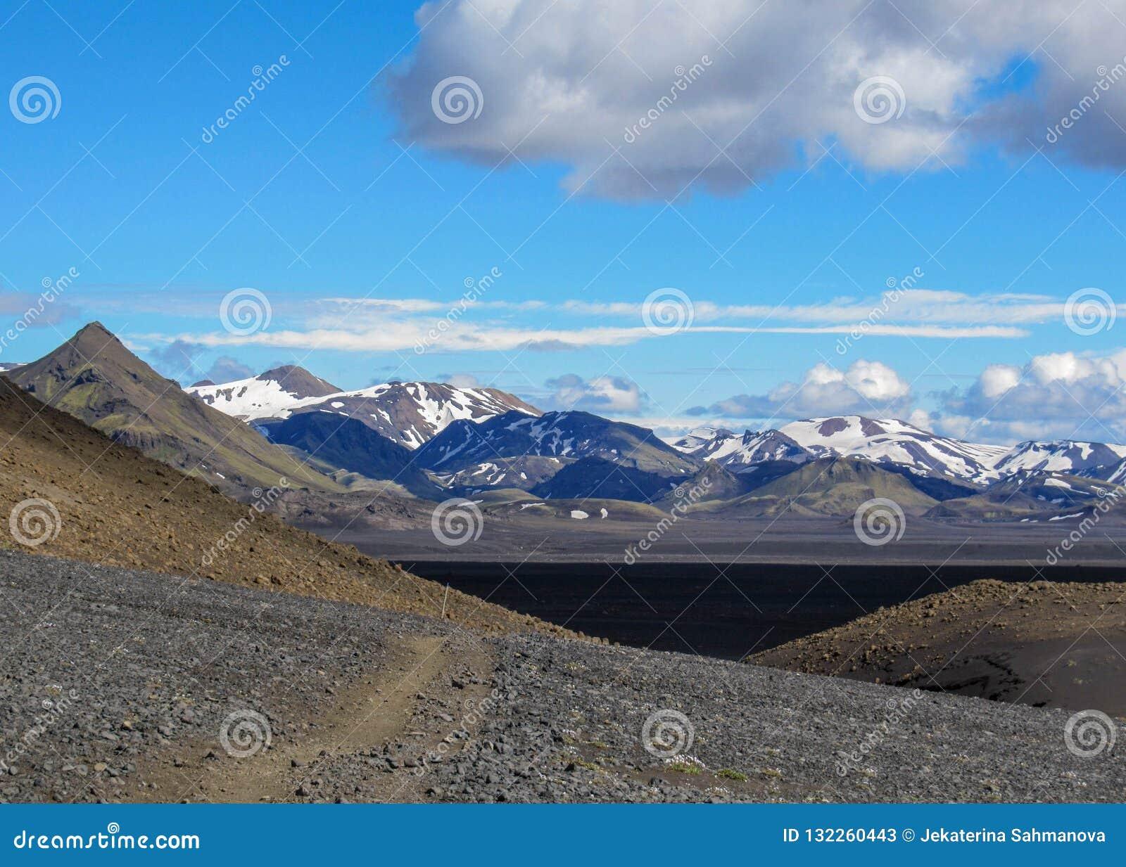 Sand-Wüstenlandschaft des Gehwegwurfs vulkanische schwarze, Laugavegur-Spur von Thorsmork zu Landmannalaugar, Hochländer von Isla