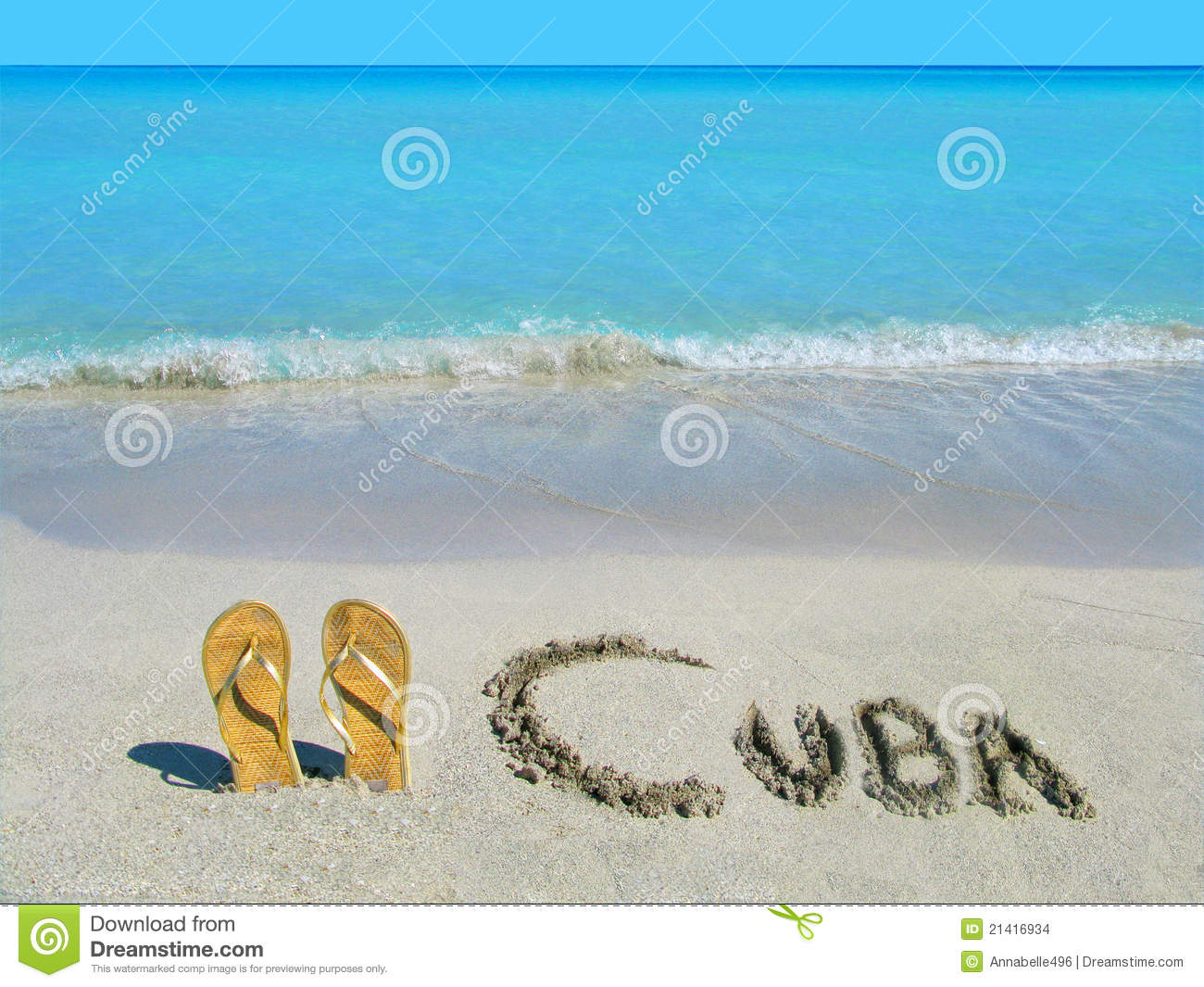 Sandals On The Beach In Varadero, Cuba Stock Images - Image: 21416934