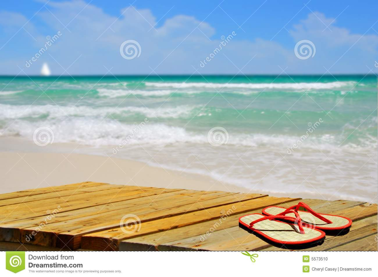 0b4804cc85d179 Sandals On Boardwalk At Beach Stock Photo - Image of deserted ...