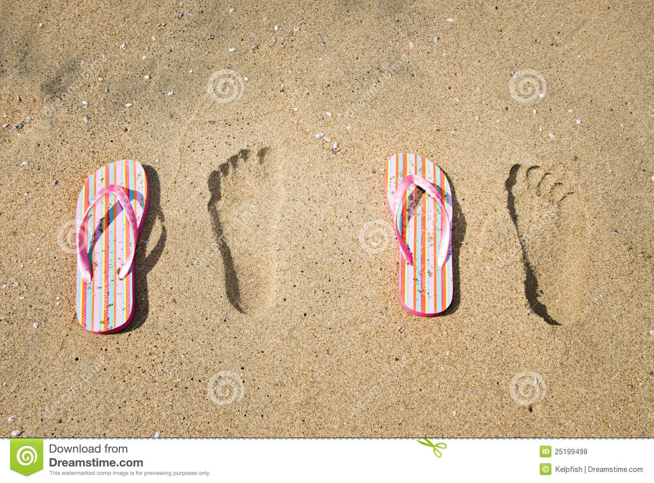 73bbc85bae88c Sandals And Footprints In The Sand Stock Photo - Image of protection ...