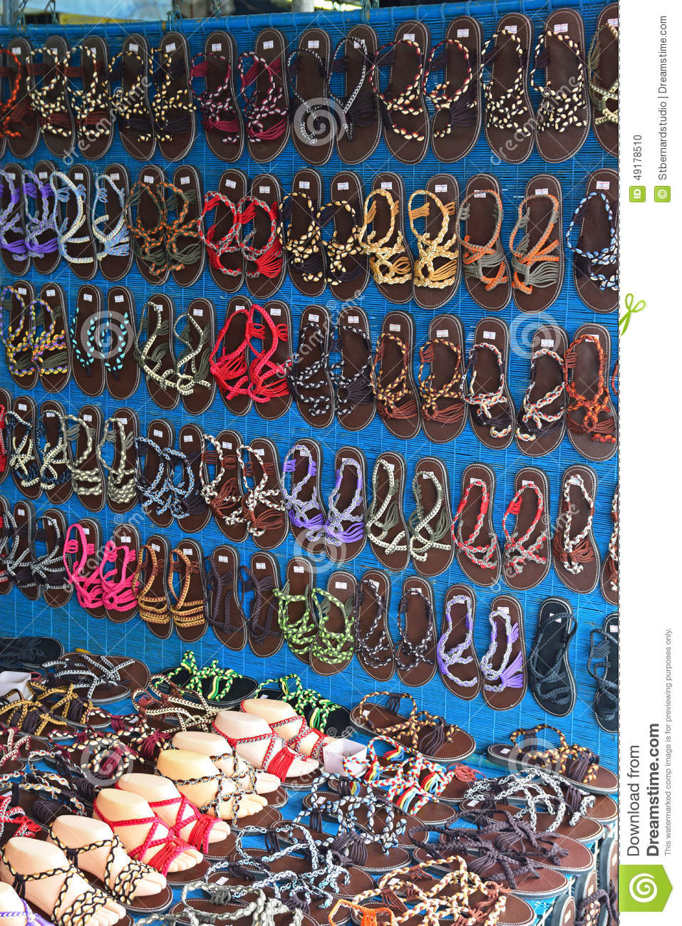 Sandals Sold In Chatuchak Weekend Market In Bangkok Stock