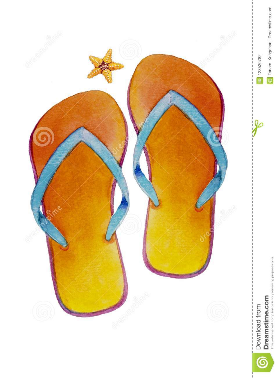 b9ab0172b91e7 Travel summer time with sea beach slippers. Watercolor painting  illustration of pair of sandals