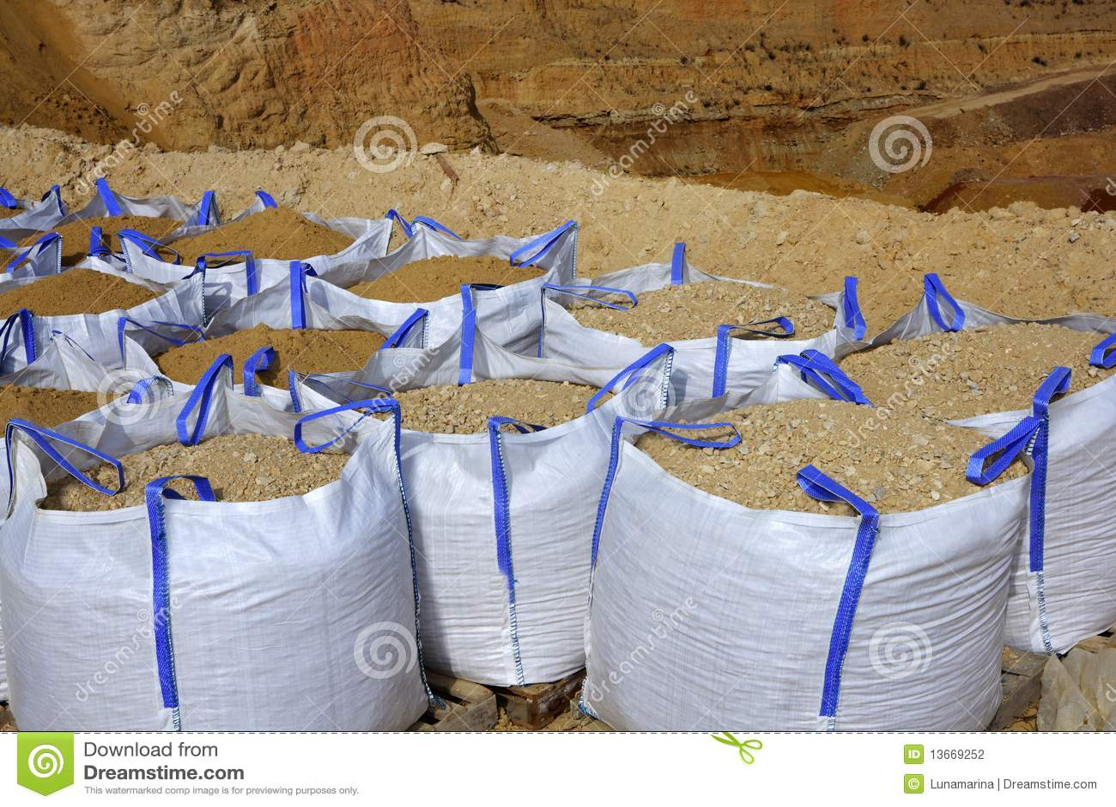 sandbag white big bag sand sacks quarry stock photography image 13669252. Black Bedroom Furniture Sets. Home Design Ideas