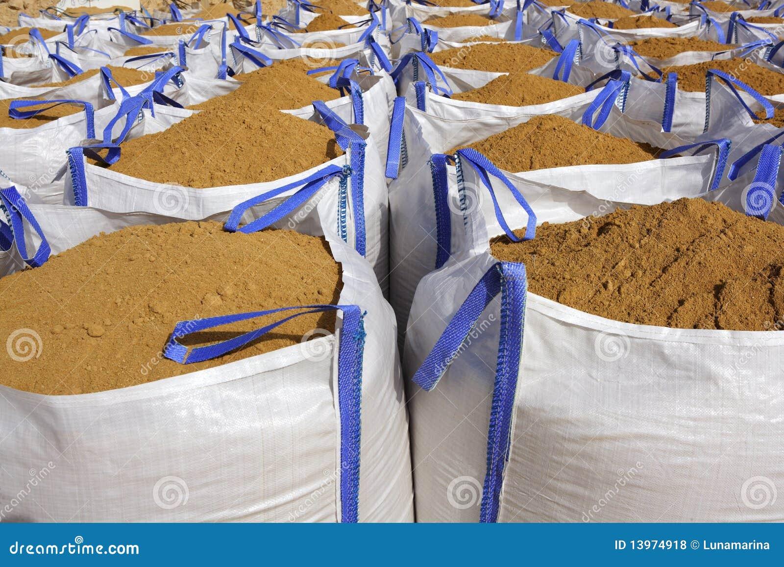 Sandbag White Big Bag Sand Sacks Quarry Royalty Free Stock ...