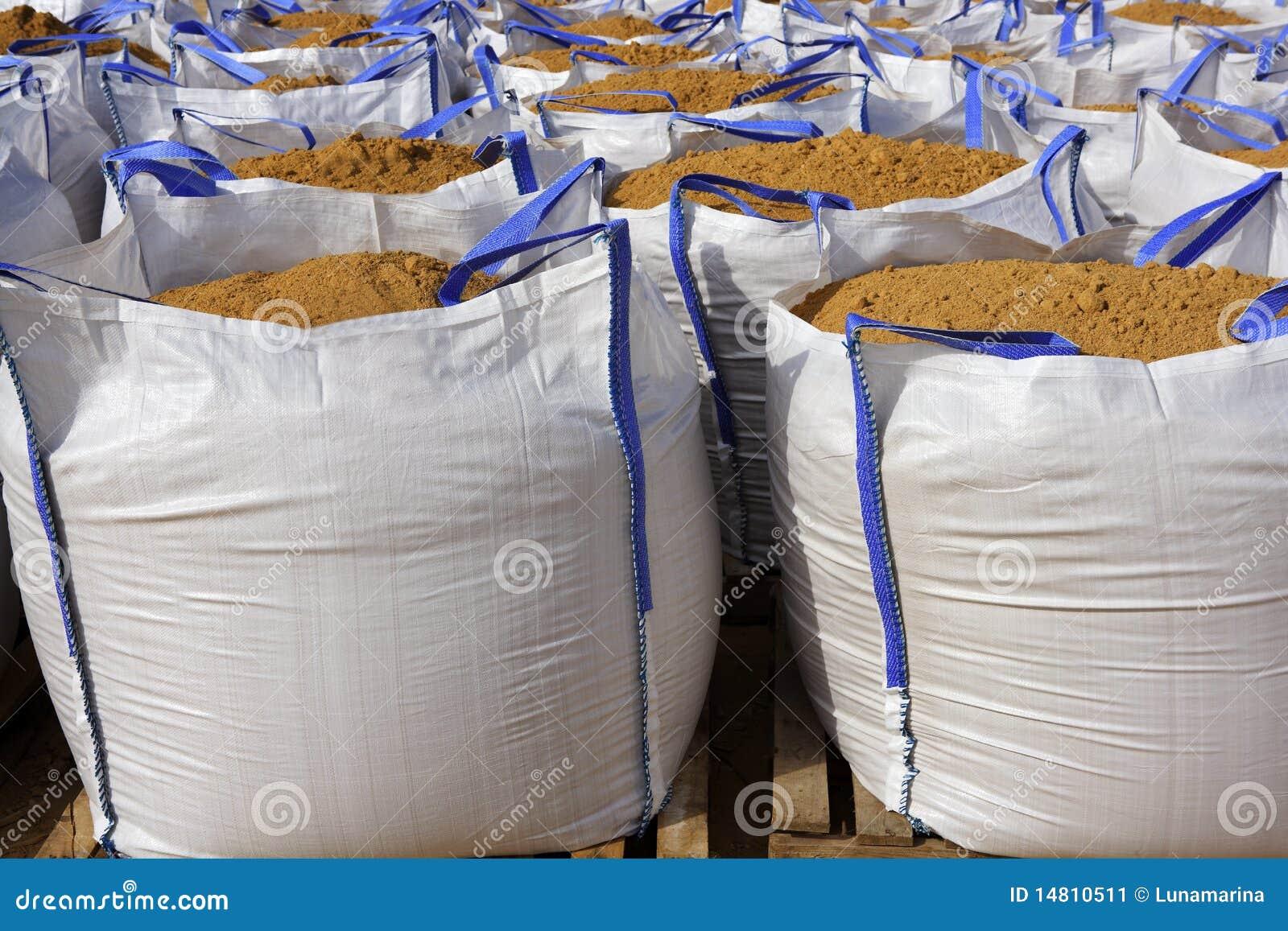 sandbag white big bag sand sacks quarry stock image image 14810511. Black Bedroom Furniture Sets. Home Design Ideas
