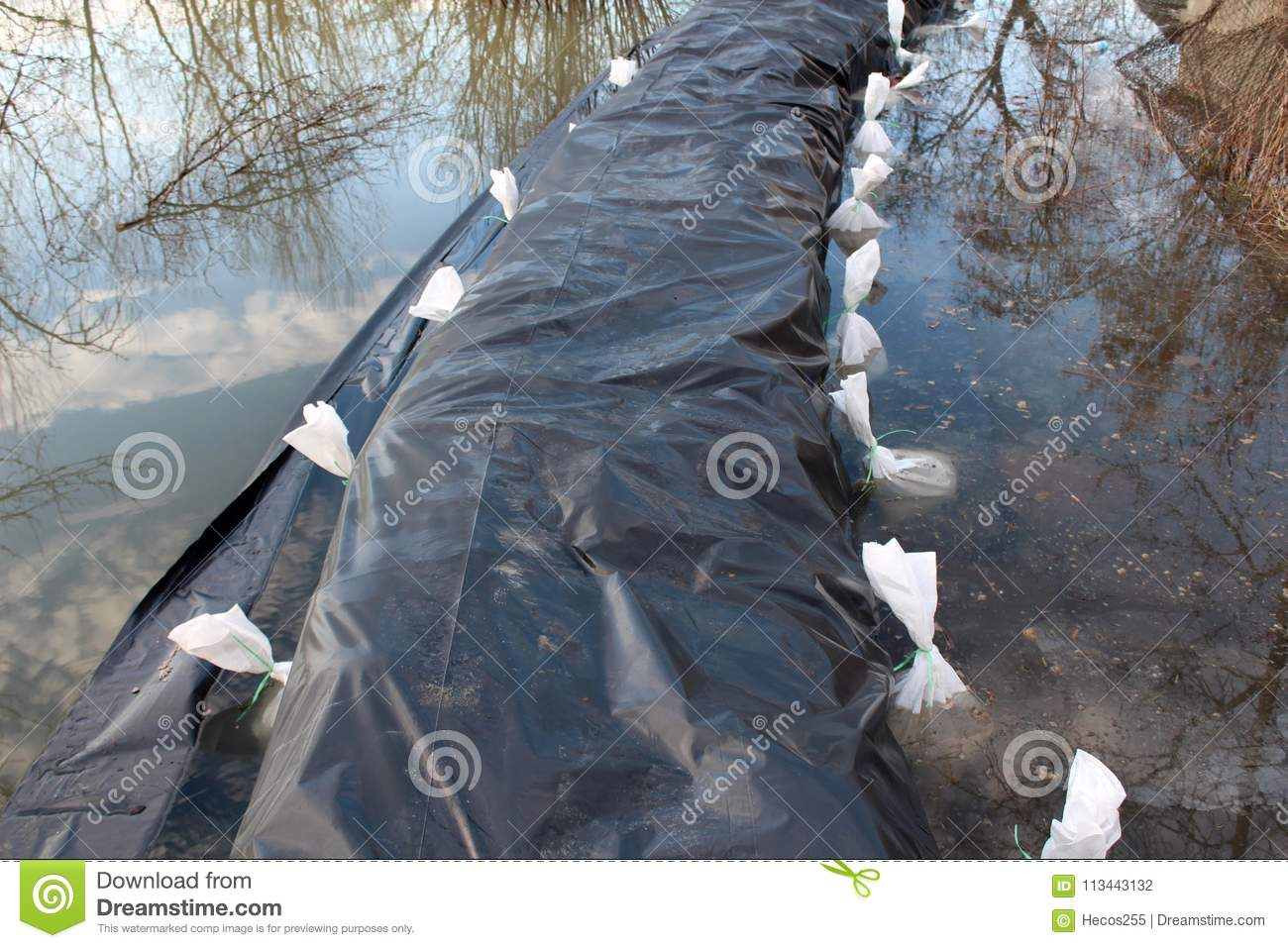 Flooded Sandbags Flood Protection Covered With Nylon And
