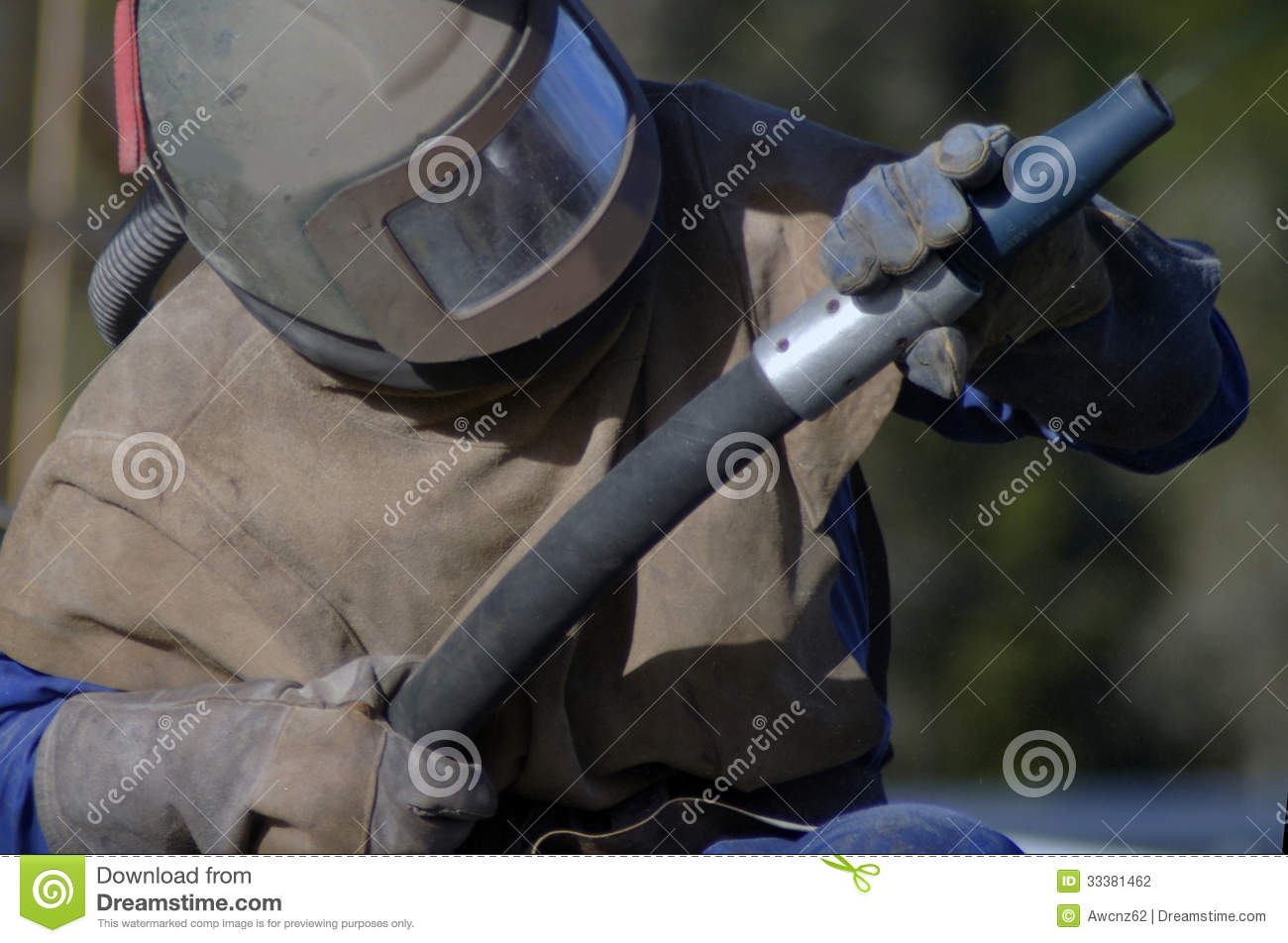 Sandblaster at work stock photo  Image of gear, people - 33381462