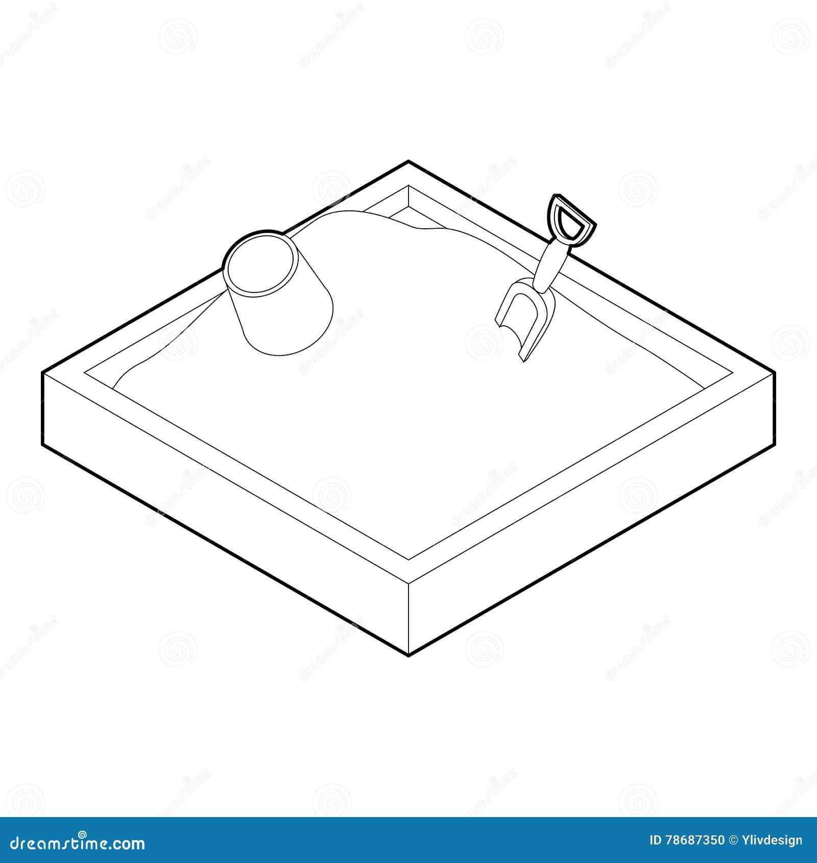 Sandbox On A Playground Icon, Outline Style Cartoon Vector ...