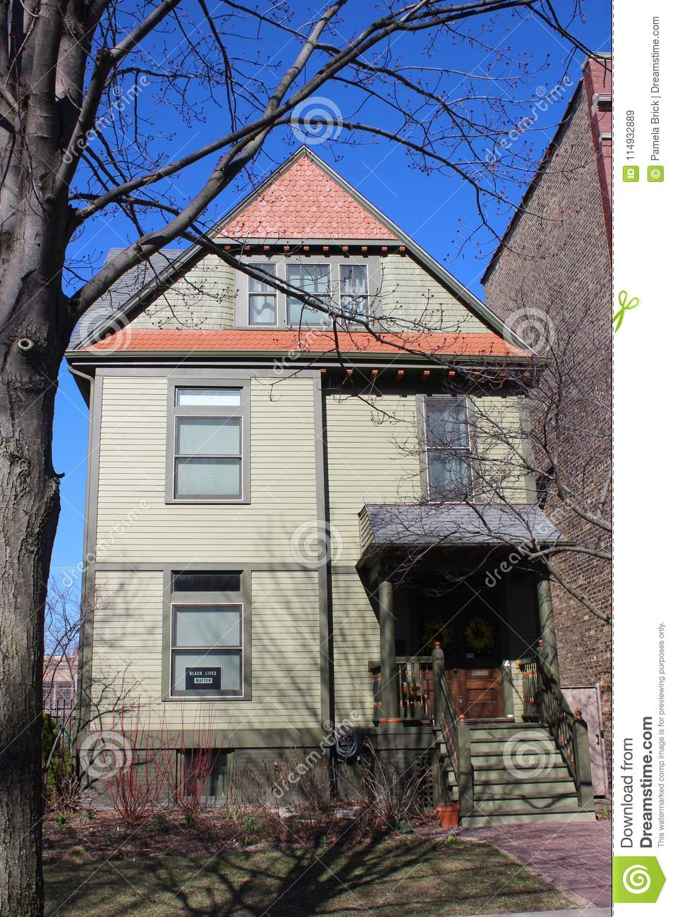 Poet Carl Sandburg Home In Chicago, Illinois. Editorial Stock Image ...