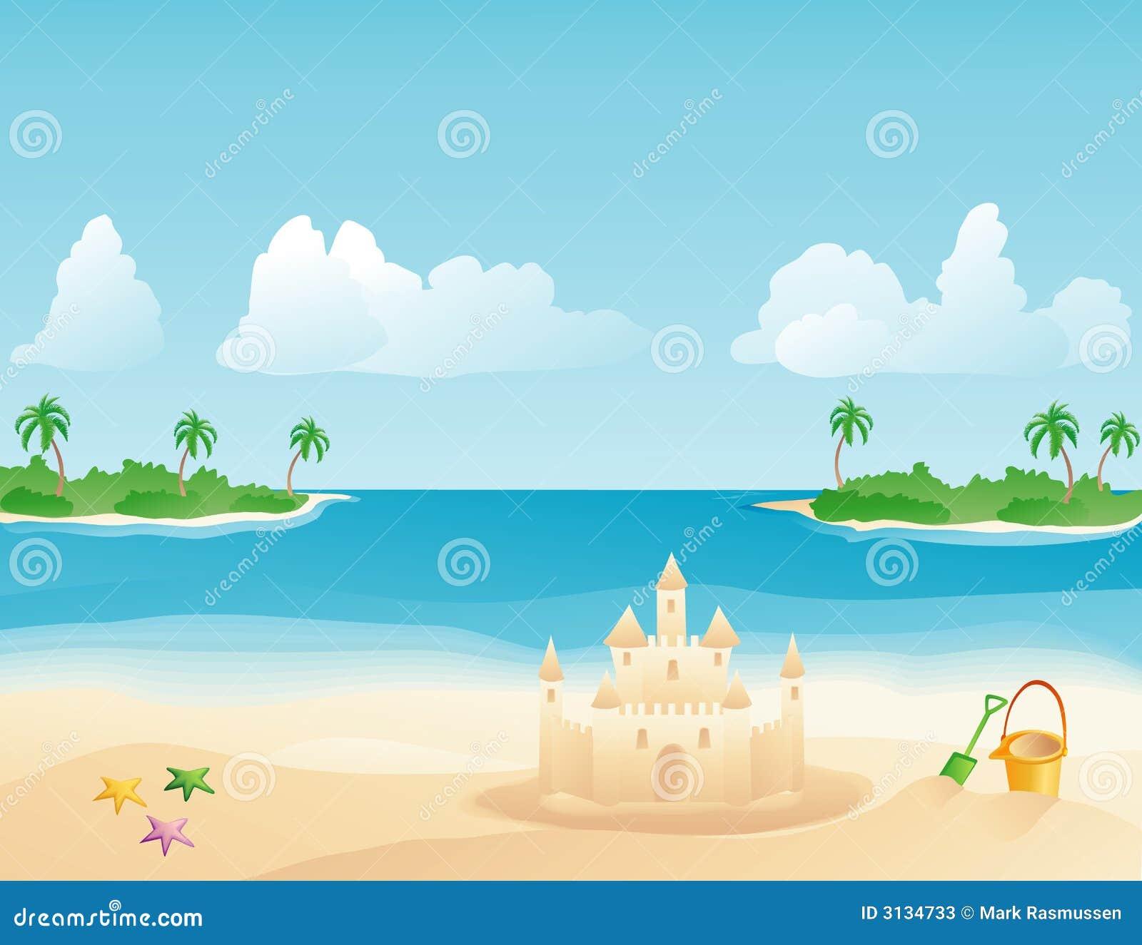 Sandcastle su una spiaggia tropicale