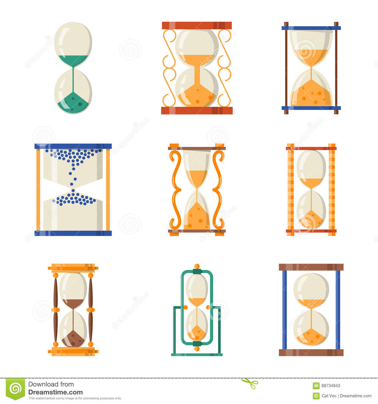 Sandglass icon time flat design history second old object and sand clock hourglass timer hour minute watch countdown