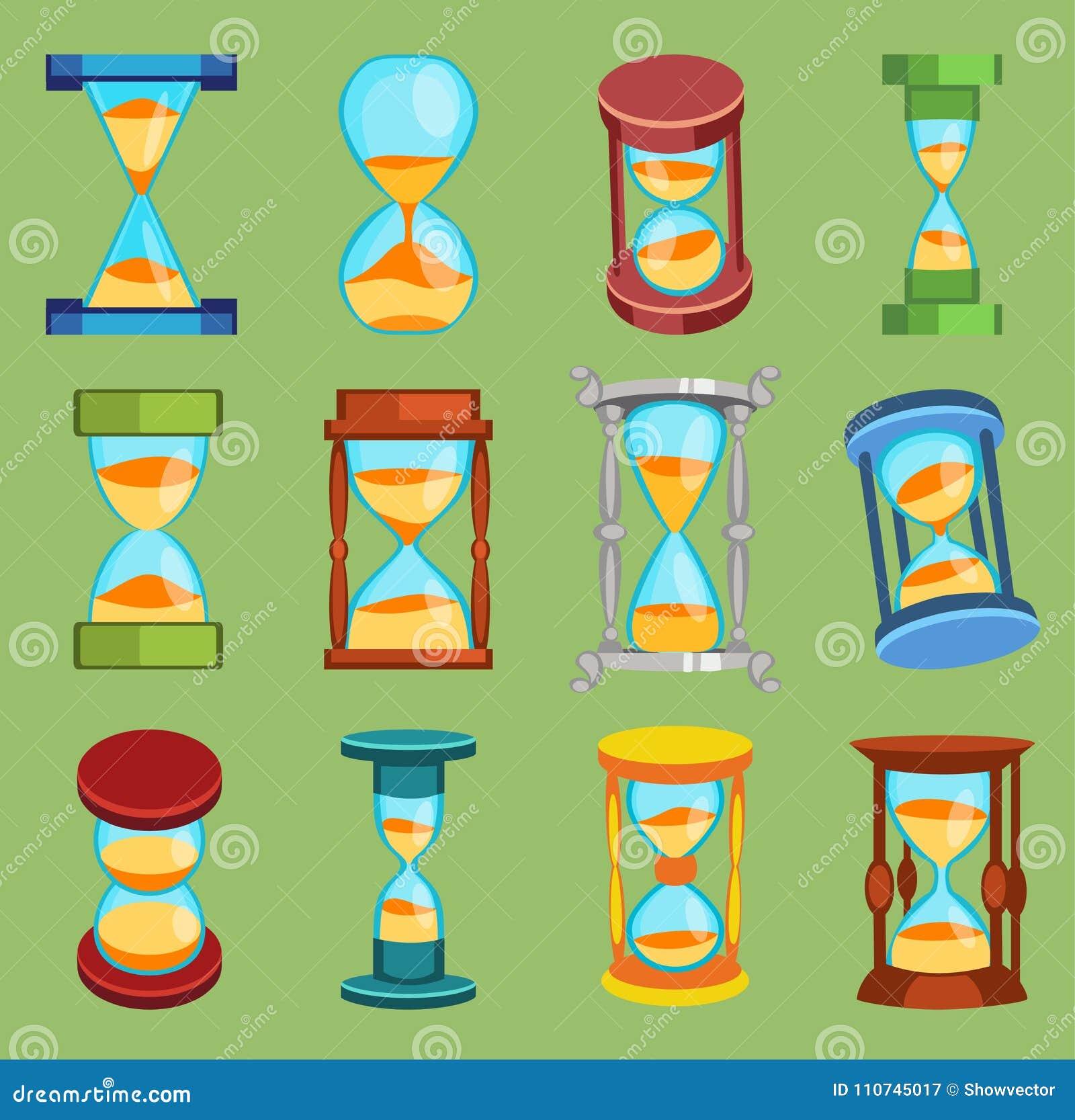Sandglass wektoru zegarków czasu szkło wytłacza wzory ikony ustawiać, czasu hourglass piaska zegaru projekta historii płaski po d