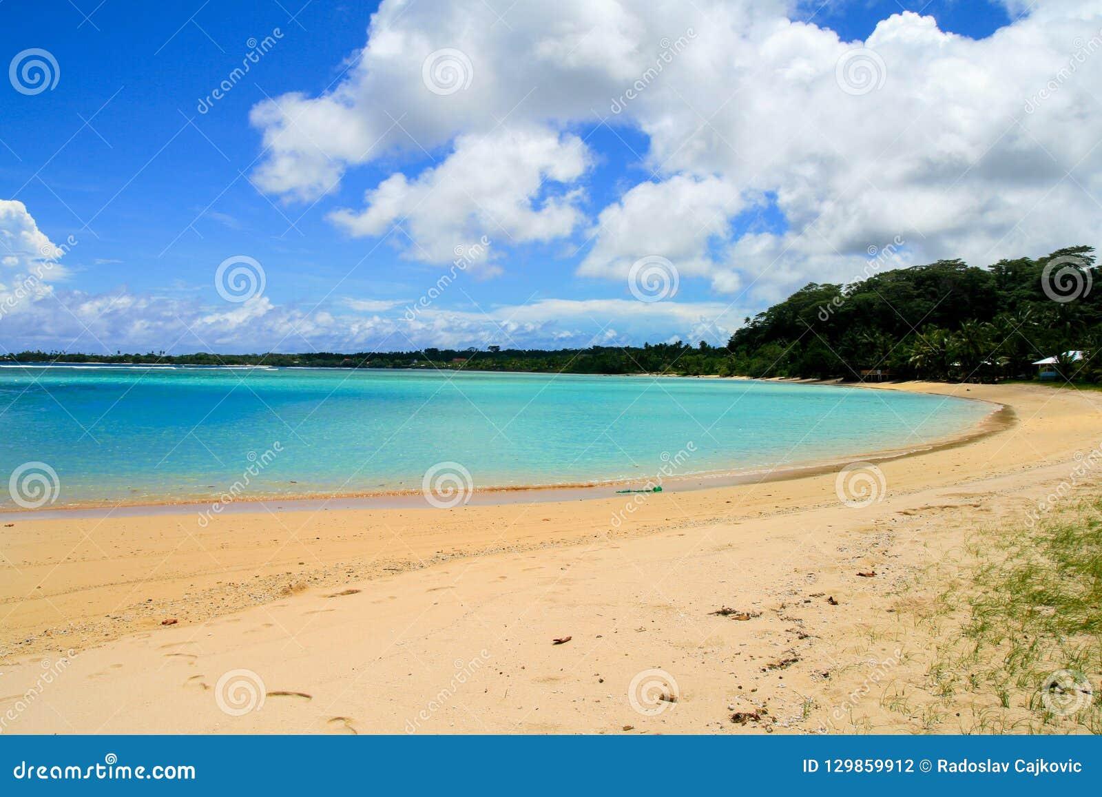 Sandiger Strand der exotischen Ferien auf Türkiswasserbucht mit tropischen Küstenbäumen