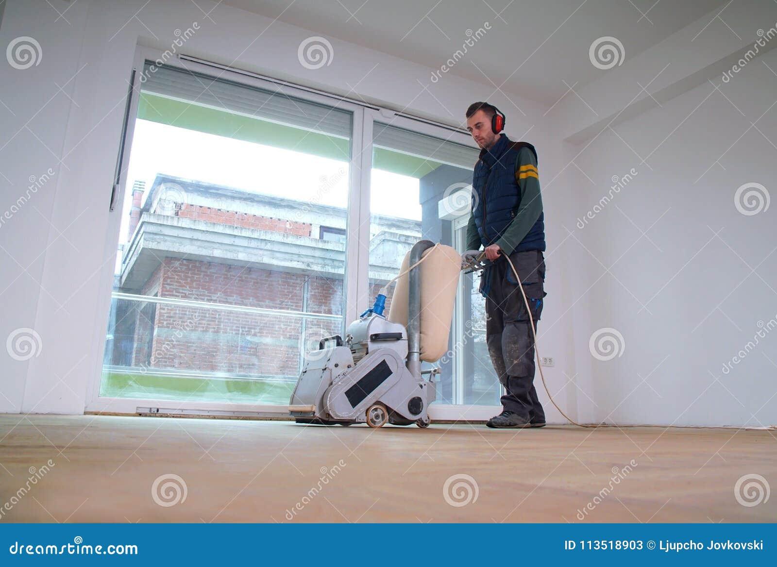 Sanding parkietowy z szlifierską maszyną Polerować wewnątrz, naprawa