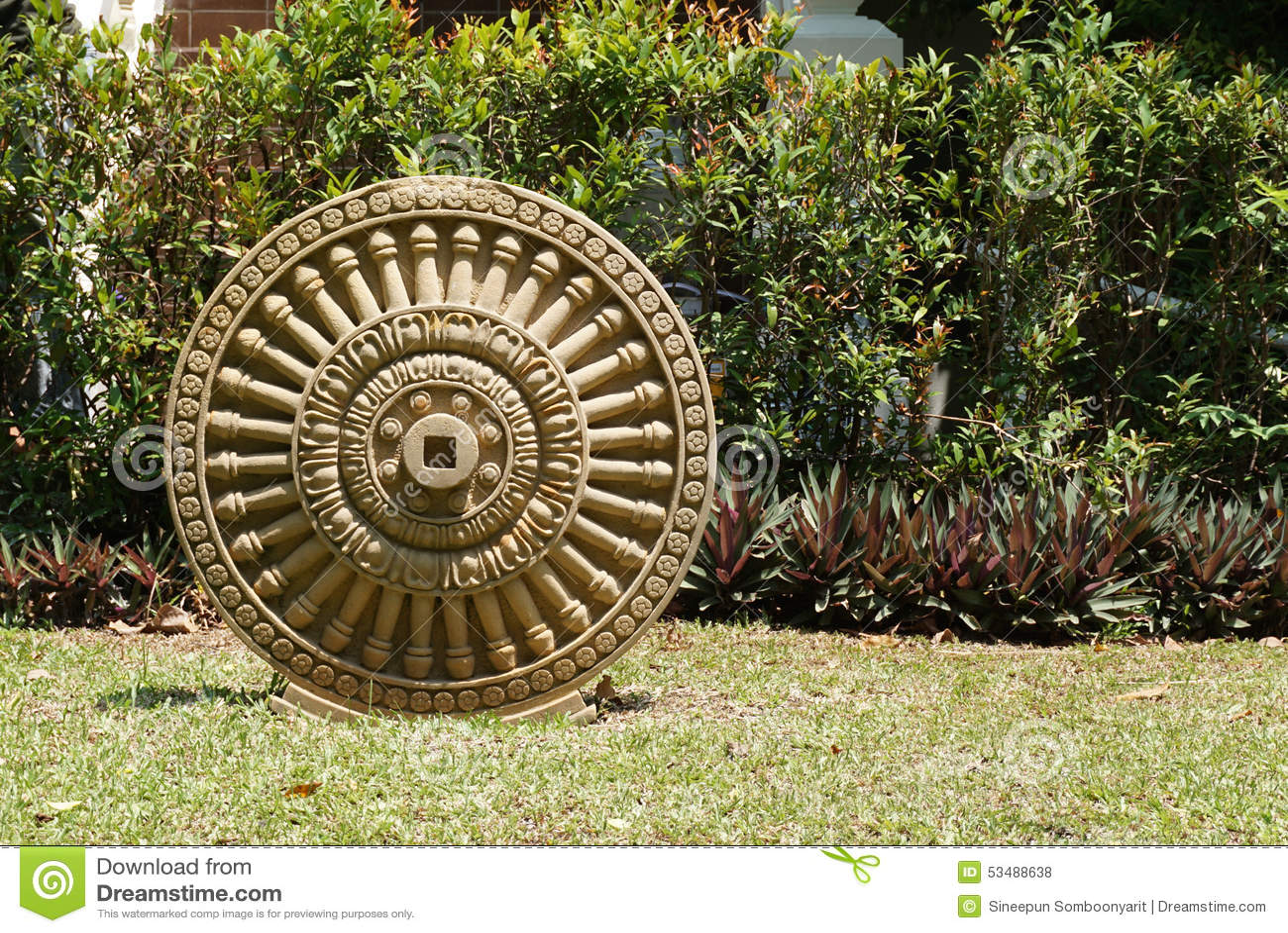 sandstone craving dhamma wheel stock photo image of icon plant