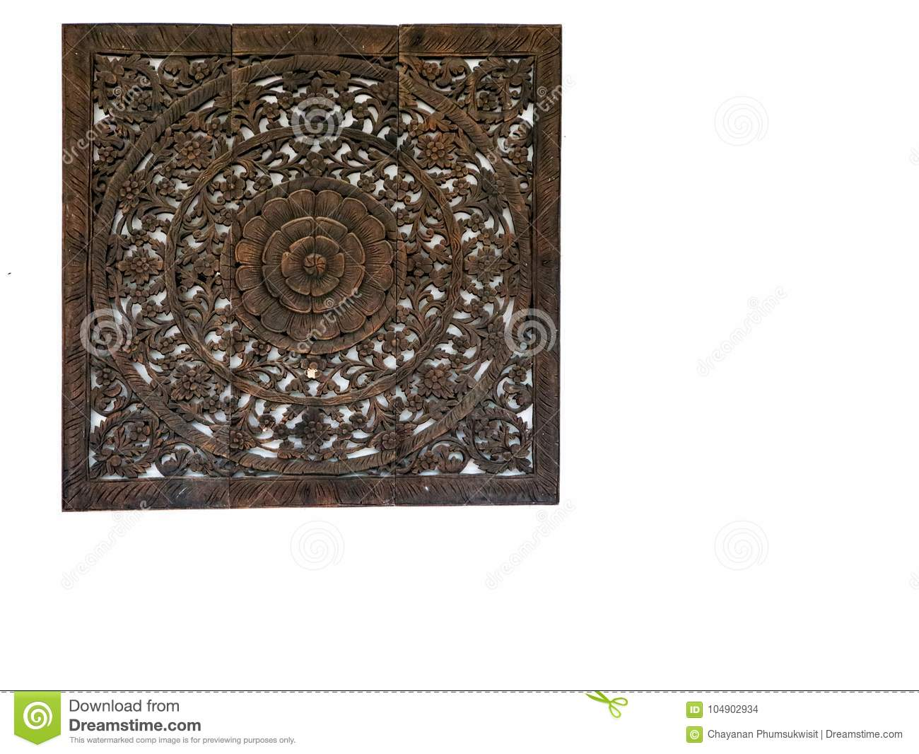 Sandstone Flower Frame Art Hang On White Concrete Wall Stock Photo