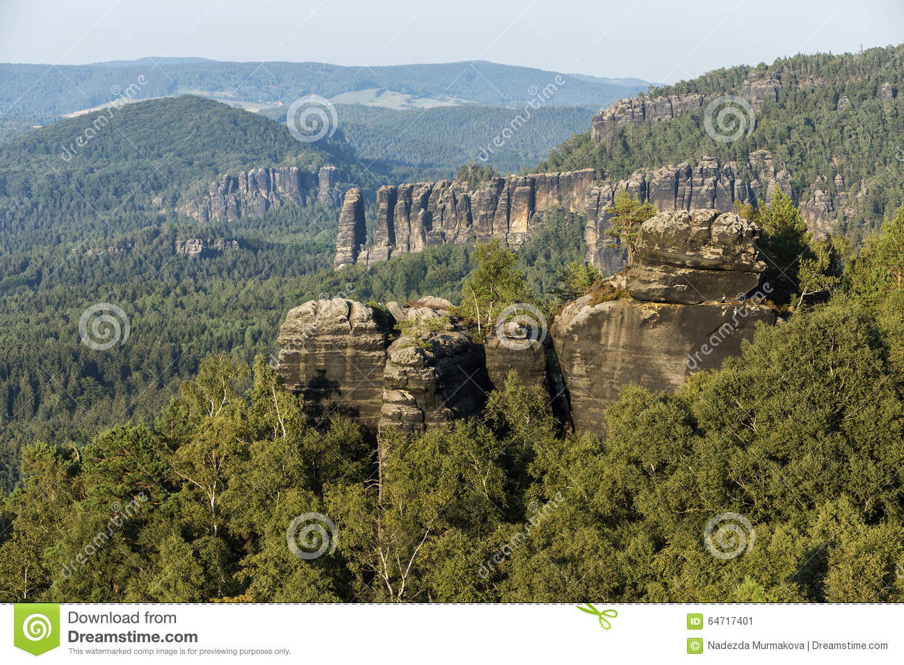 Sandstone rocks, forests and blue sky in the Germany Switzerland