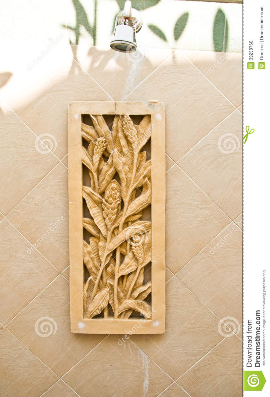 Sandstone Wall With Stone Sculpture Flower Stock Photo Image Of