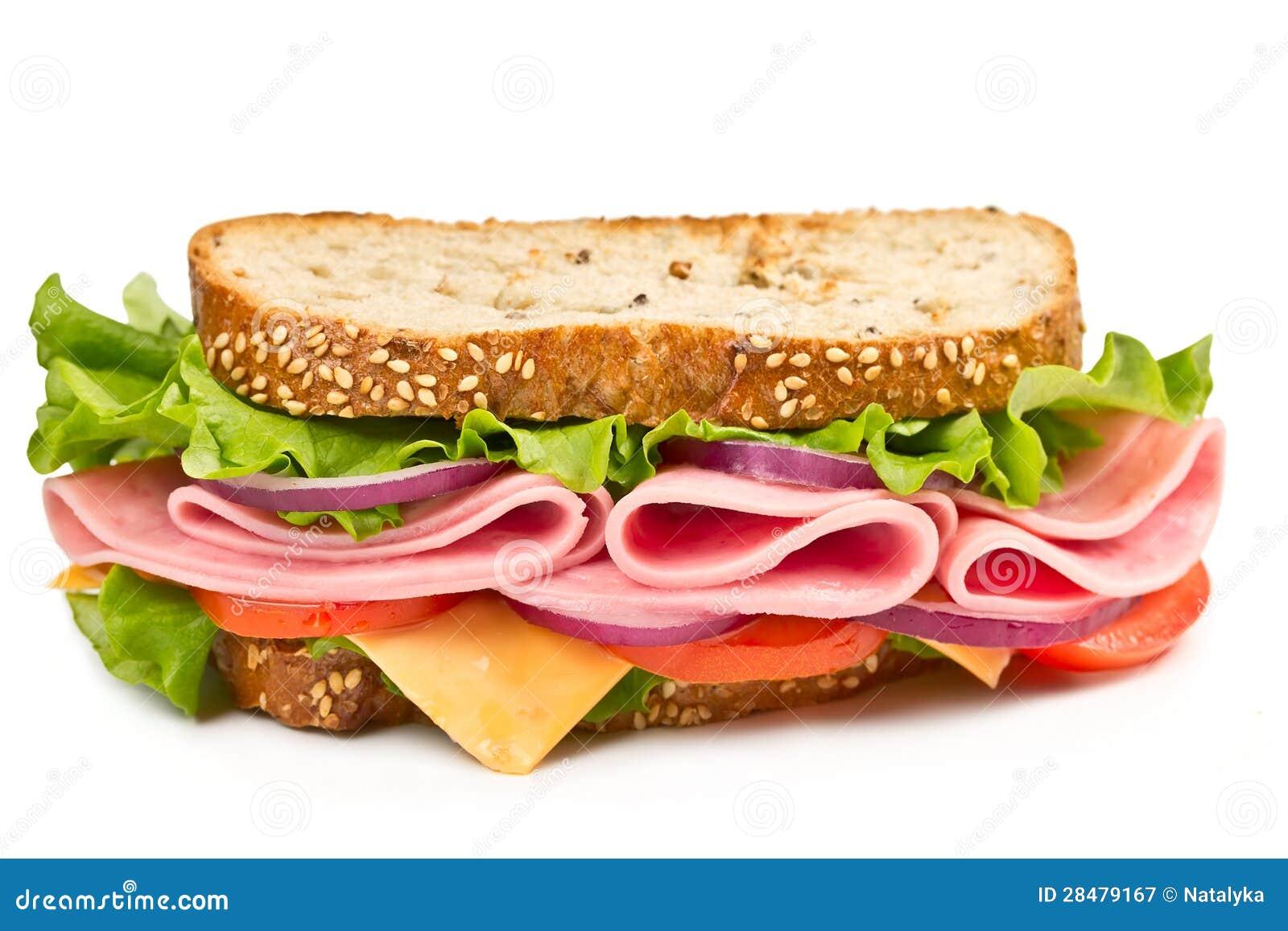 Sanduíche com presunto, queijo e tomate