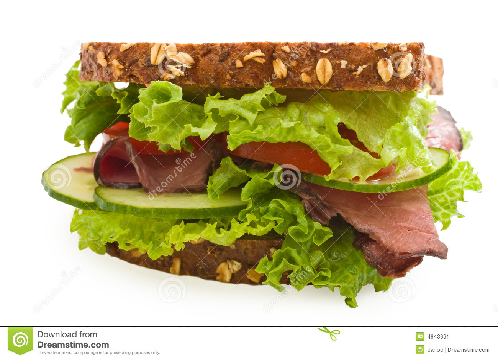 Sanduíche da carne de assado da Multi-grão isolado no branco