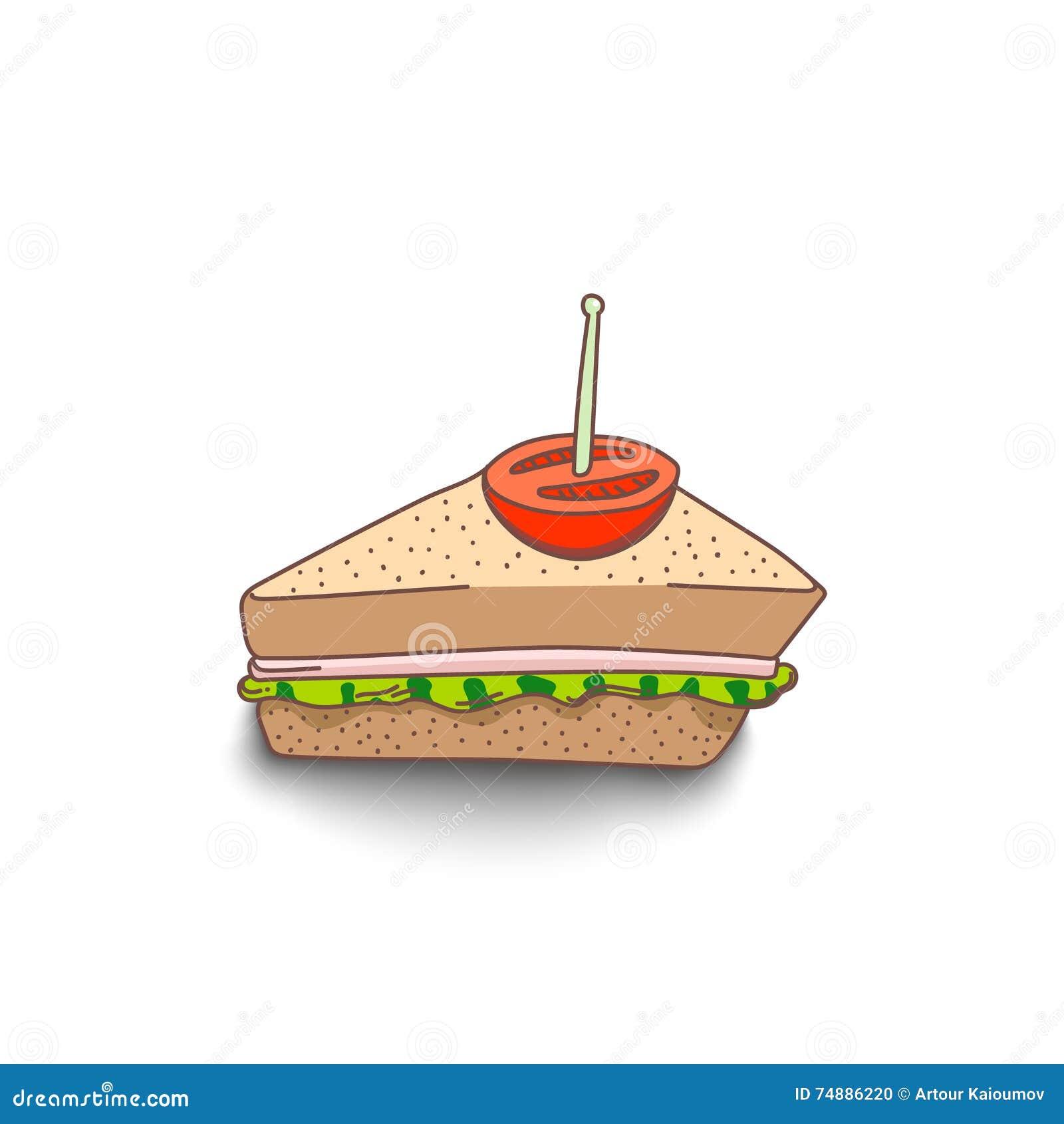 Sanduíche desenhado à mão bonito do estilo dos desenhos animados com sombra no fundo branco