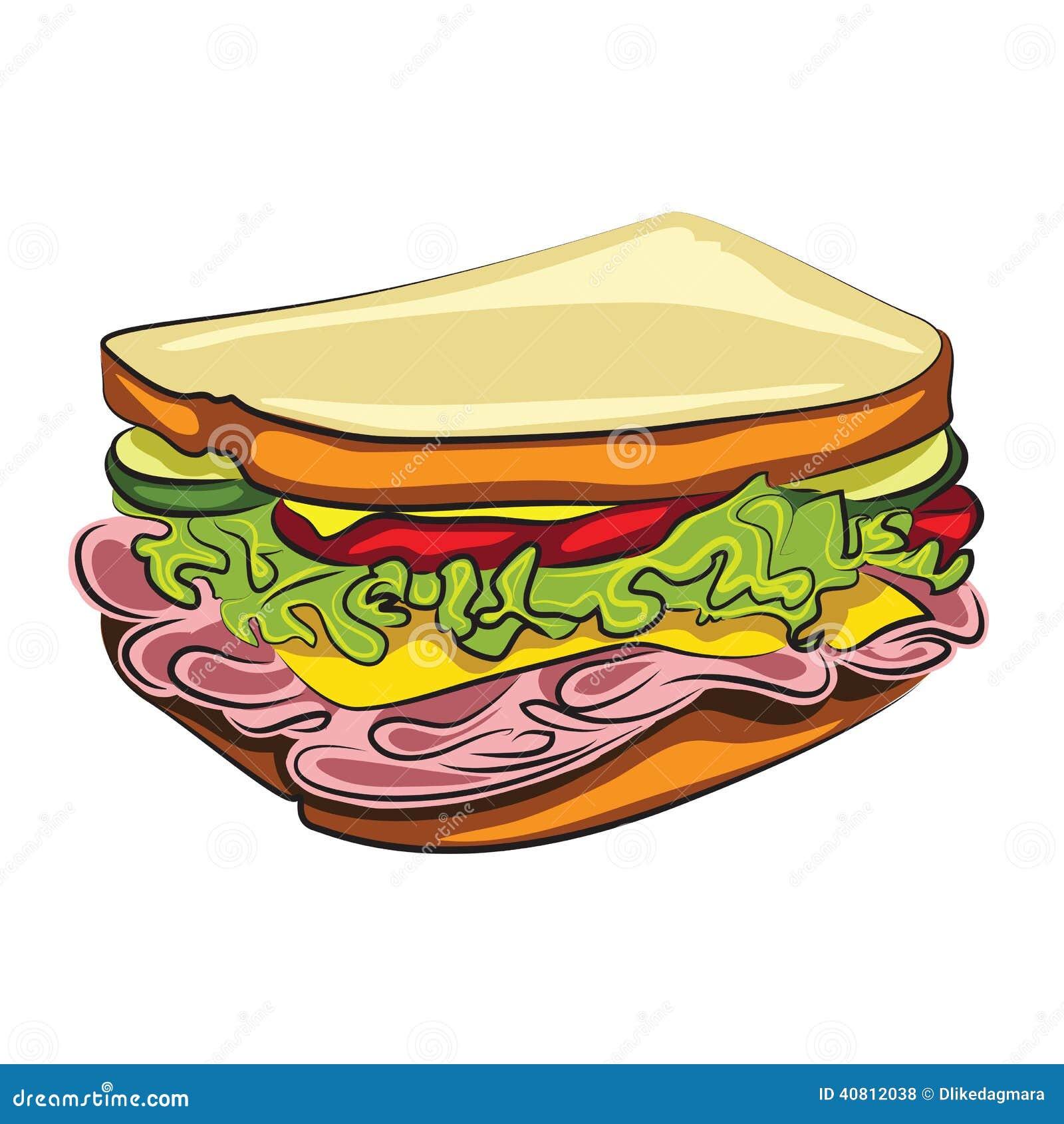 Sanduiche Dos Desenhos Animados Ilustracao Do Vetor Ilustracao