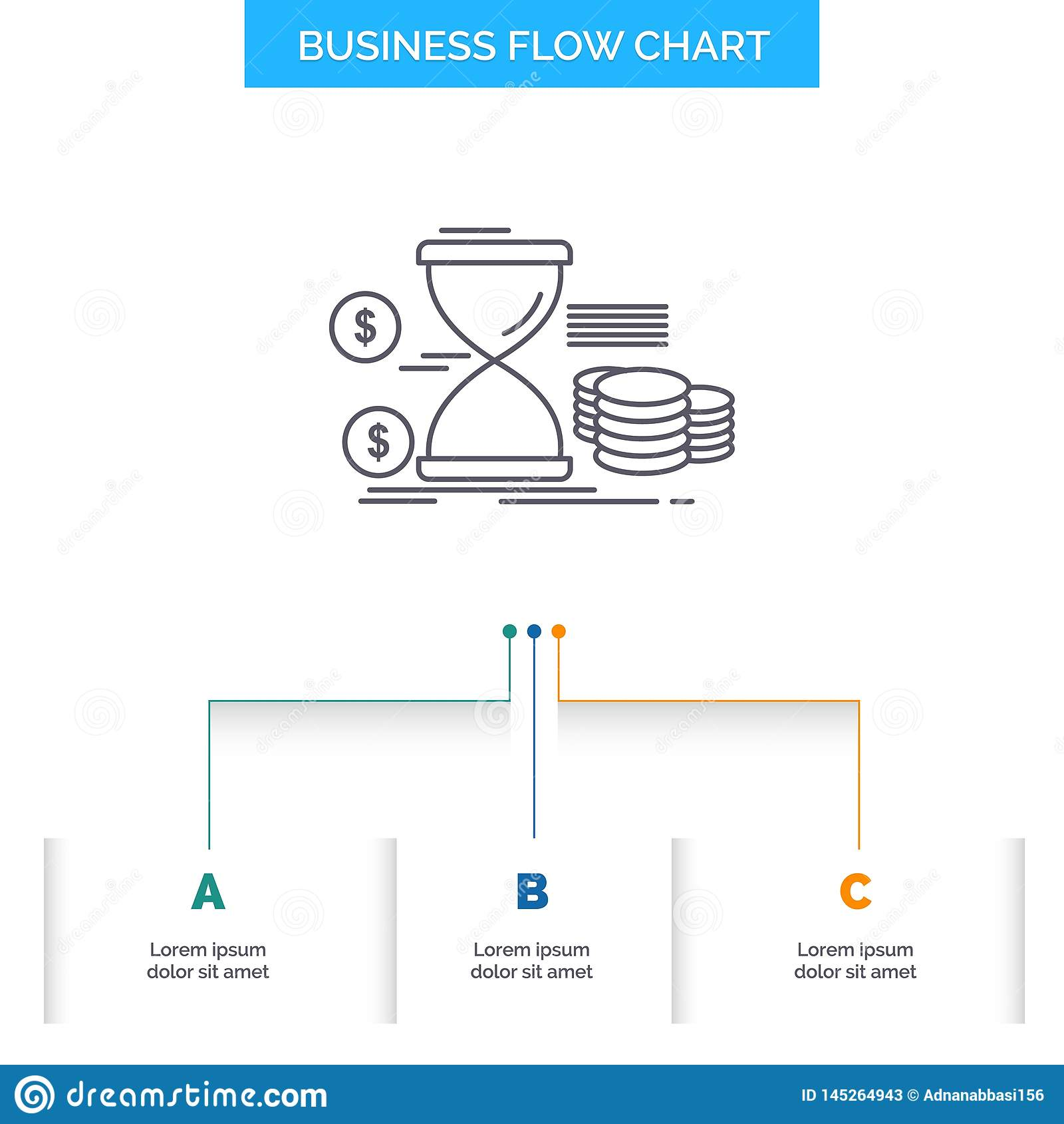 Sanduhr, Management, Geld, Zeit, Münzen Geschäfts-Flussdiagramm-Entwurf mit 3 Schritten r
