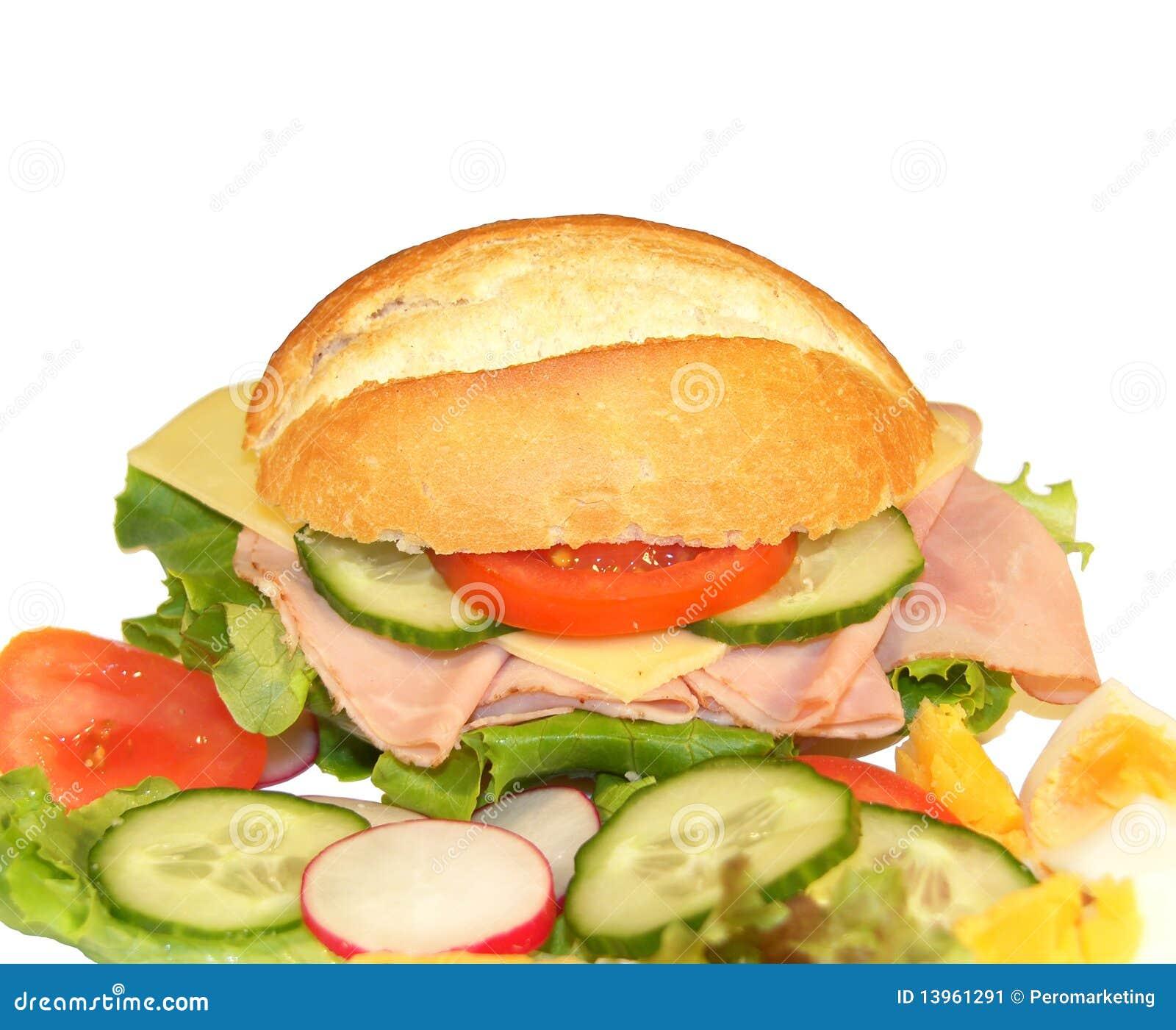 Sandwich avec du jambon et le fromage