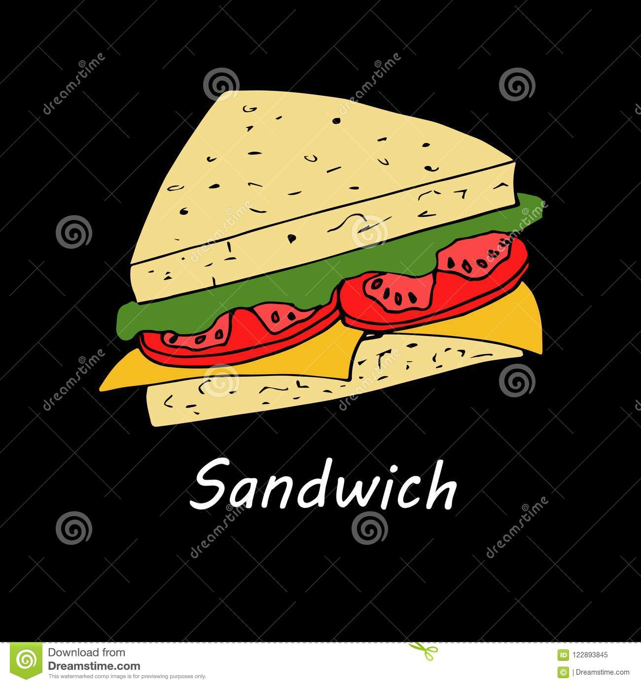 sandwich on black background illustration in cartoon style for menu