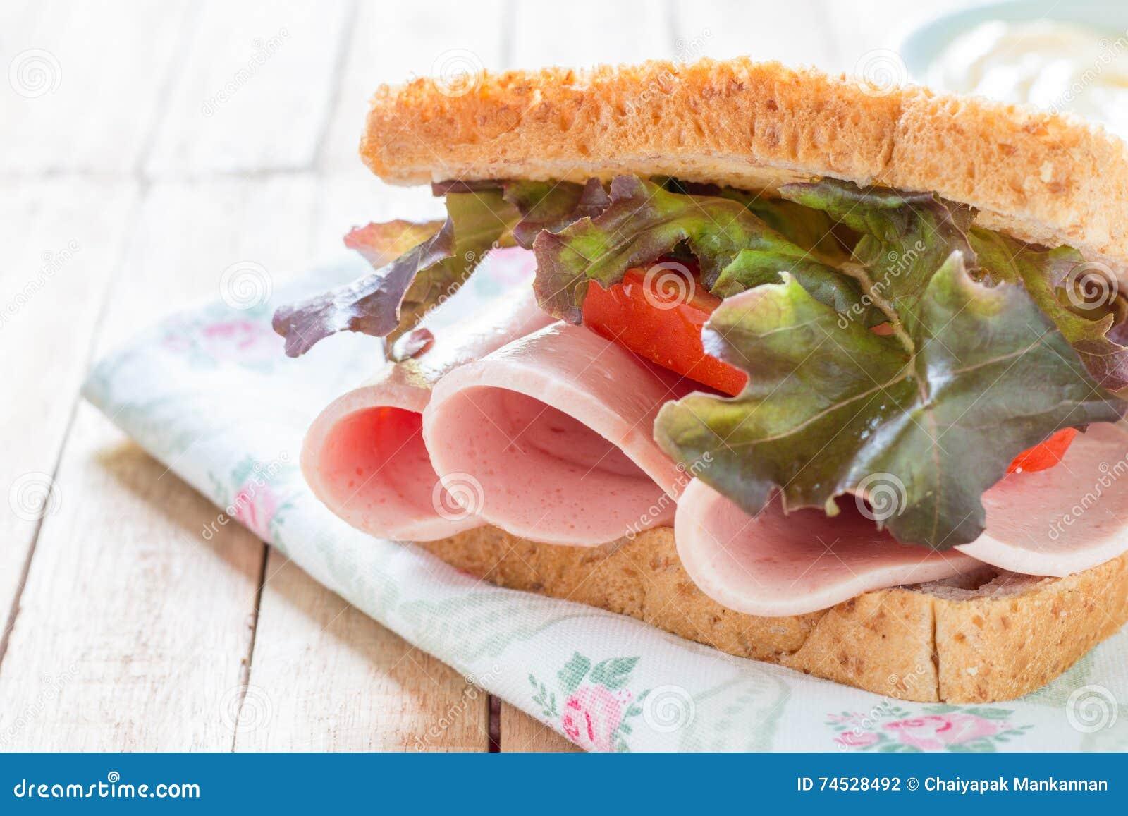 Sandwich bologna sausage stock photo. Image of pork ...