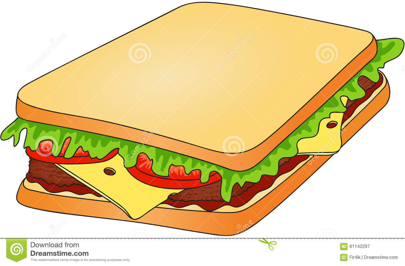 Sandwich Bread With Cheese Tomato Meat And Salad Fast
