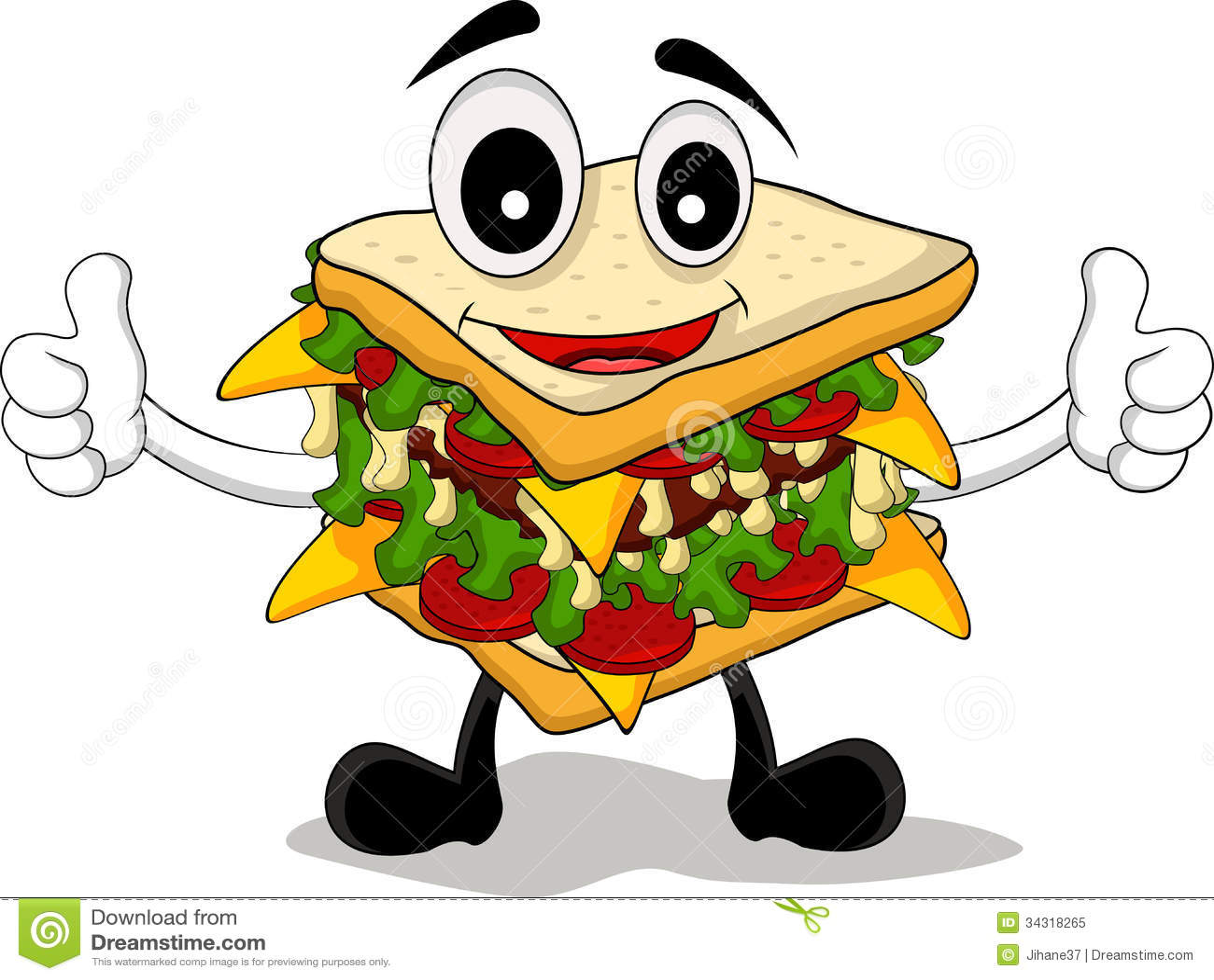 sandwich cartoon thumb up stock illustration illustration of gesture 34318265 dreamstime com