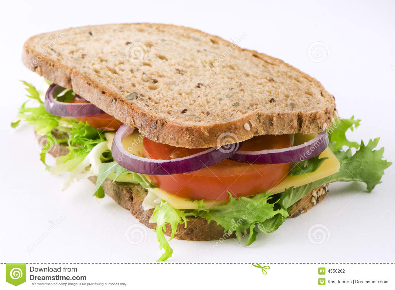 Sandwich With Cheese, Lettuce, Tomato And Onion Stock Photography ...
