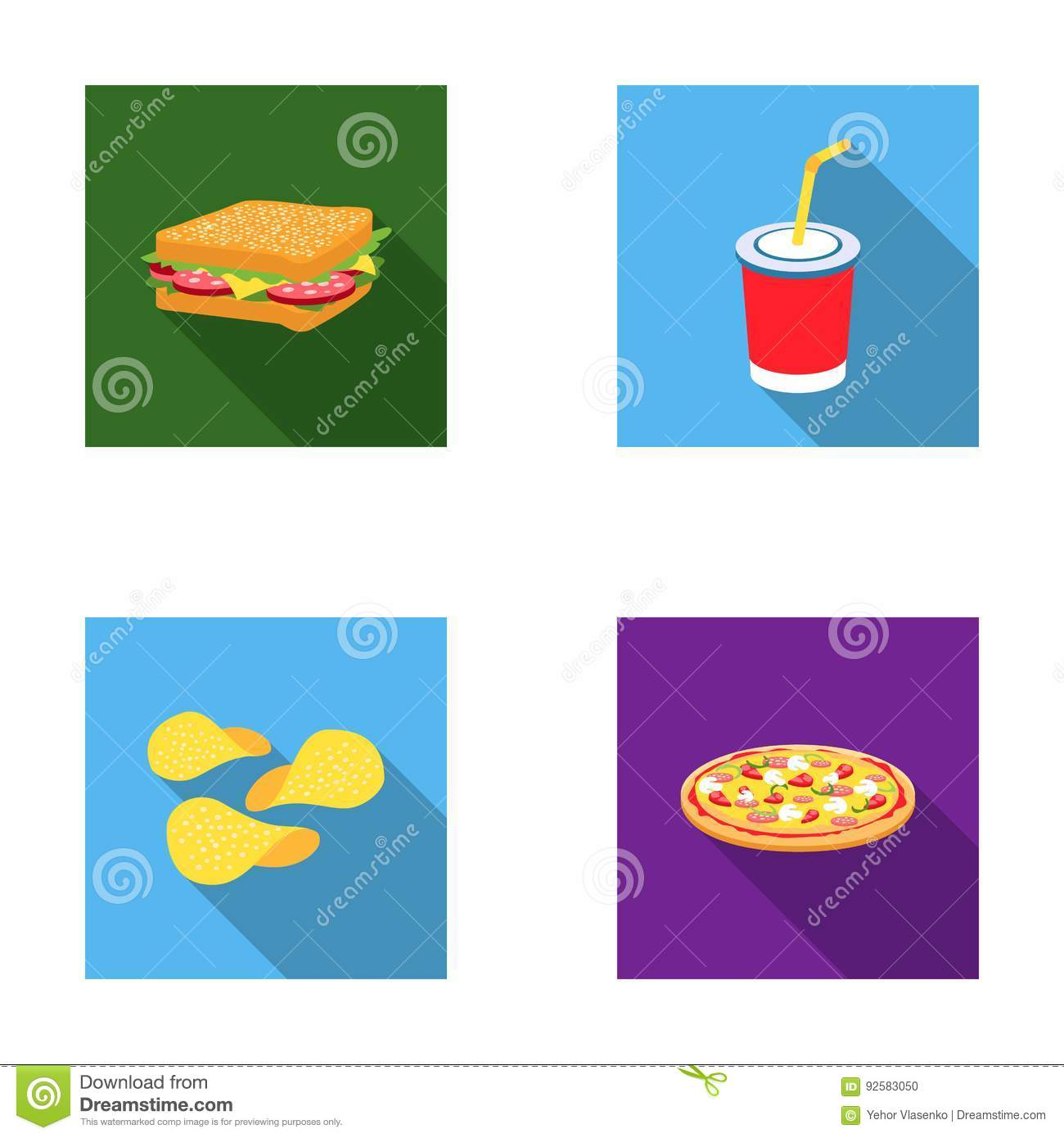 Sandwich Cola Chips Pizza Fast Food Set Collection Icons In Flat
