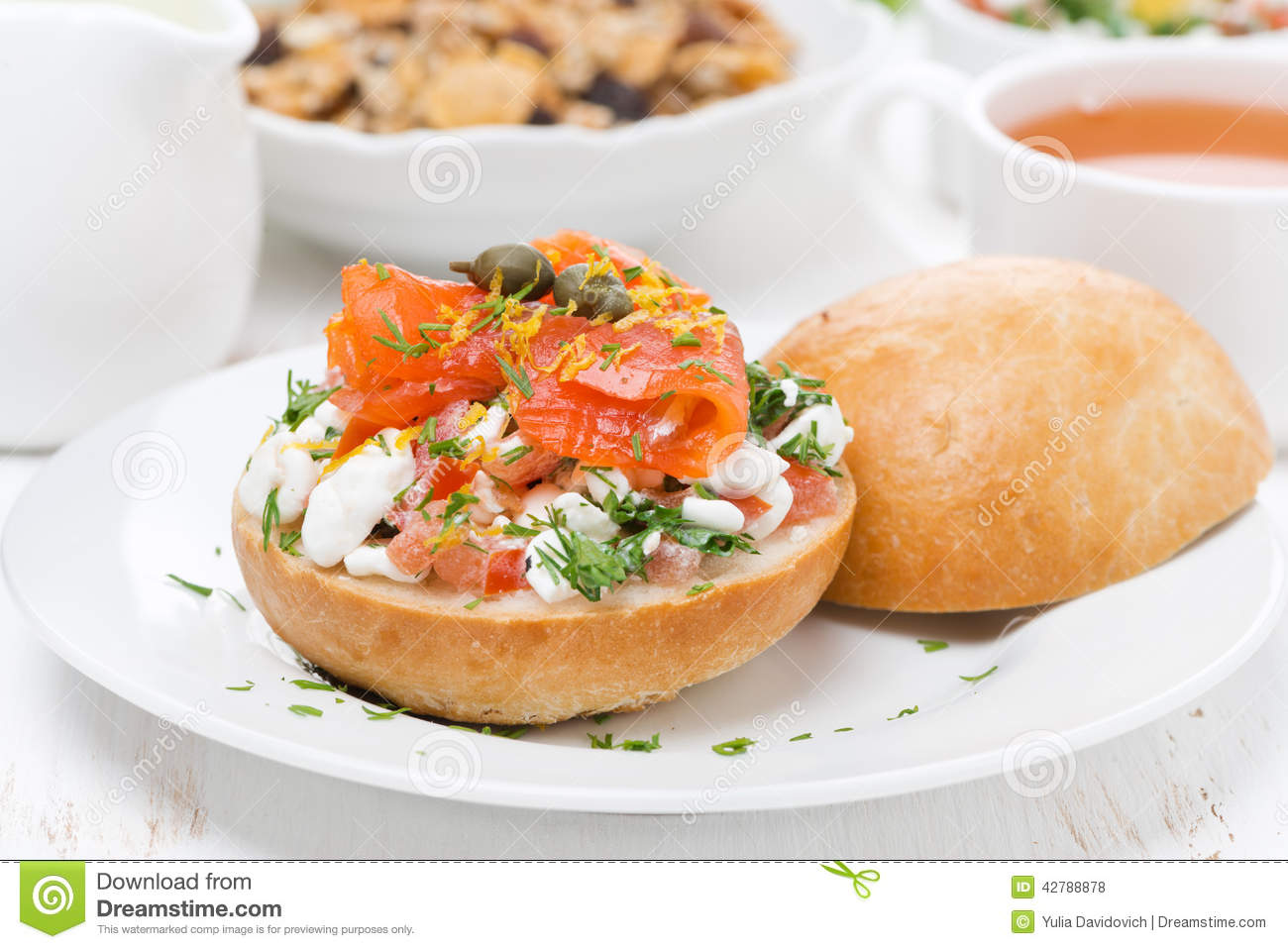 sandwich with cottage cheese tomato and salmon for breakfast stock rh dreamstime com is cottage cheese bad for breakfast is cottage cheese good for you for breakfast