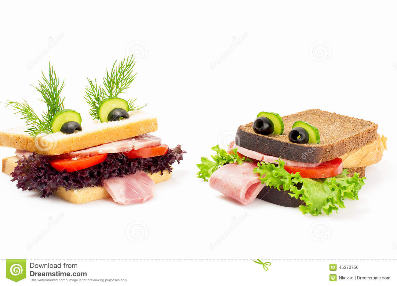 Sandwich deux drôle pour lenfant, disolement sur le fond blanc.